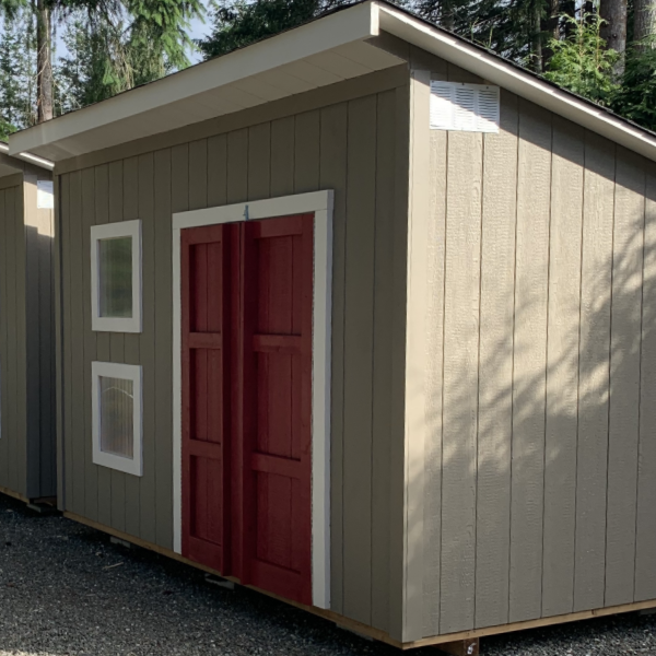 12ft x 8ft Downtown Shed with 8ft side wall at front, 6ft side watt at back, windows