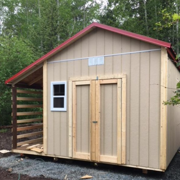 10ft x 12ft Custom Shed with 7ft sidewall, wood shed