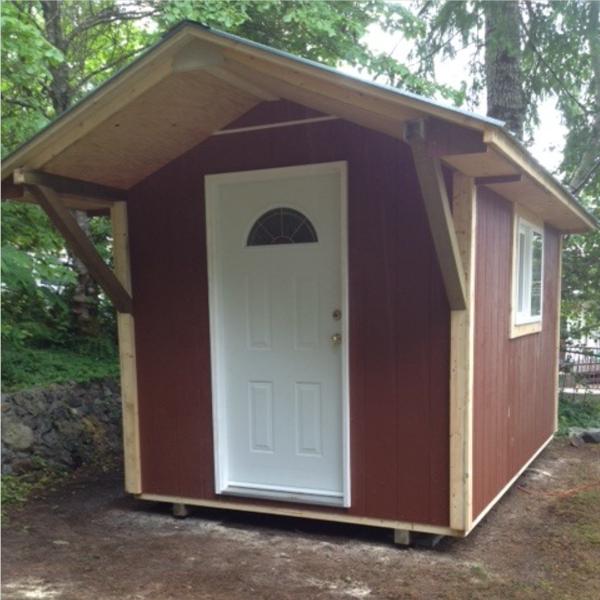 8ft x 10ft Custom Shed with steel door, overhang, windows